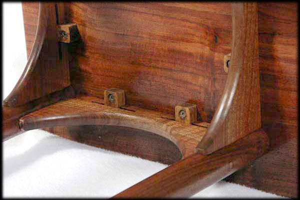 Photo: Marble Inlay Black Walnut End Table, Detail Of Construction