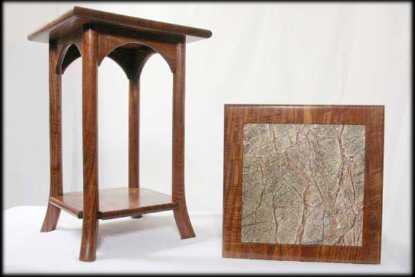 Marble Inlay Black Walnut End Tables